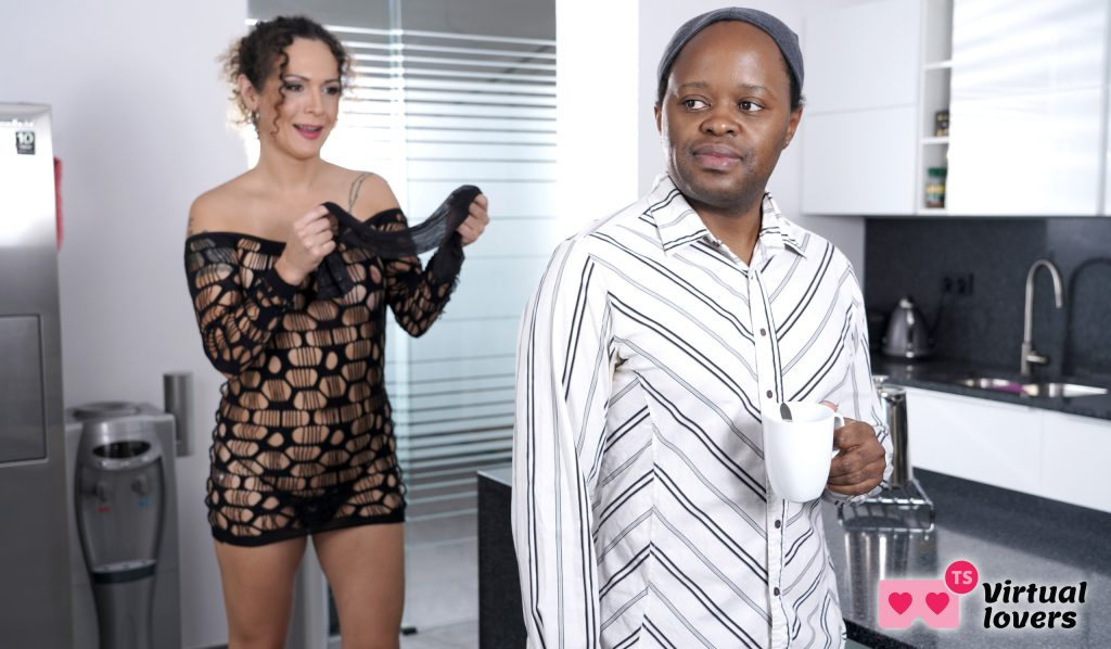 tranny in lingerie with black dude