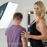 Nikki Vicious shemale VR pornstar in studio