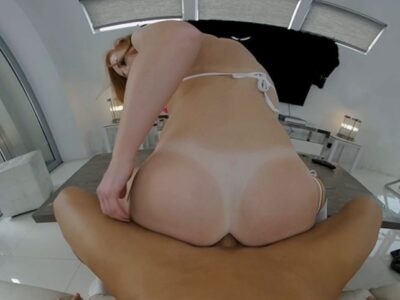 VR picture of American shemale Shiri Allwood riding cock 3D POV reverse cowgirl